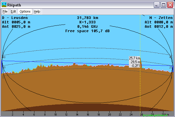 Radio Mobile - RF propagation simulation software - Earth curvature